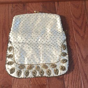 Monet Gold and Ivory Beaded Vintage Clutch